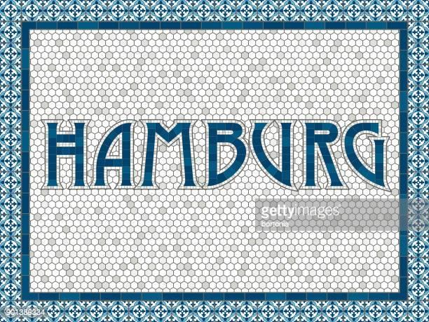 Hamburg alte altmodische Mosaik Fliesen Typografie