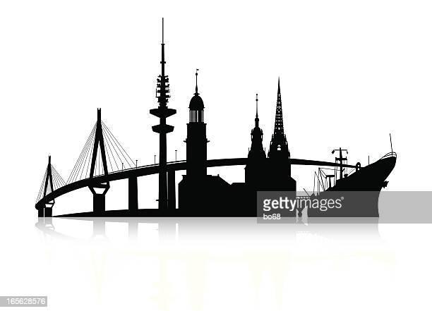 hamburg-silhouette-skyline - stadtsilhouette stock-grafiken, -clipart, -cartoons und -symbole