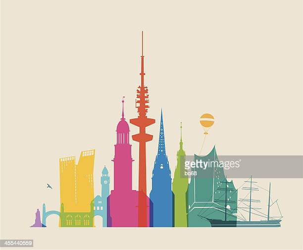 bildbanksillustrationer, clip art samt tecknat material och ikoner med hamburg skyline - colored - international landmark