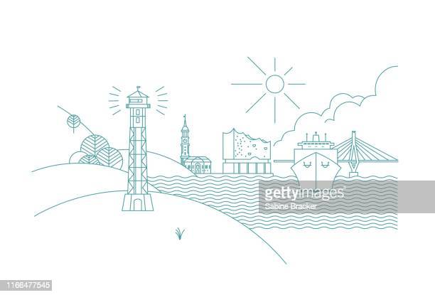 hamburg skyline line art - illustration stock-grafiken, -clipart, -cartoons und -symbole