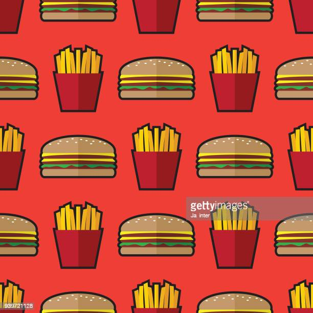 hamburger and french fries pattern background - french fries stock illustrations, clip art, cartoons, & icons