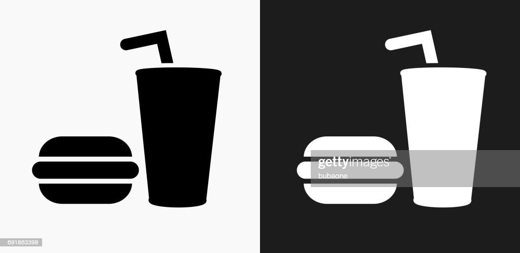 Hamburger and Soda Icon on Black and White Vector Backgrounds : stock illustration
