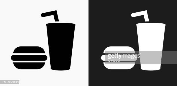 Hamburger and Soda Icon on Black and White Vector Backgrounds