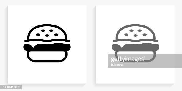 hamburger  black and white square icon - hamburger stock illustrations, clip art, cartoons, & icons