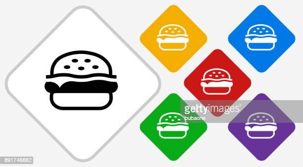 ilustrações, clipart, desenhos animados e ícones de ícone de vetor de diamante de cor de hambúrguer - hamburger