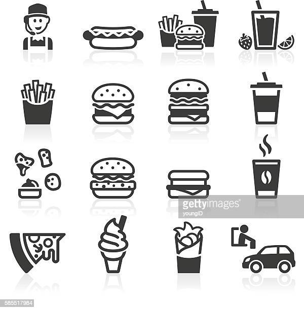 hamburger fast food icons - unhealthy eating stock illustrations