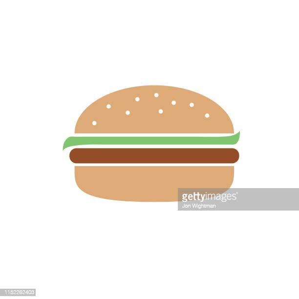 hamburger-flat design bbq-barbecue icon - konturzeichnung stock-grafiken, -clipart, -cartoons und -symbole