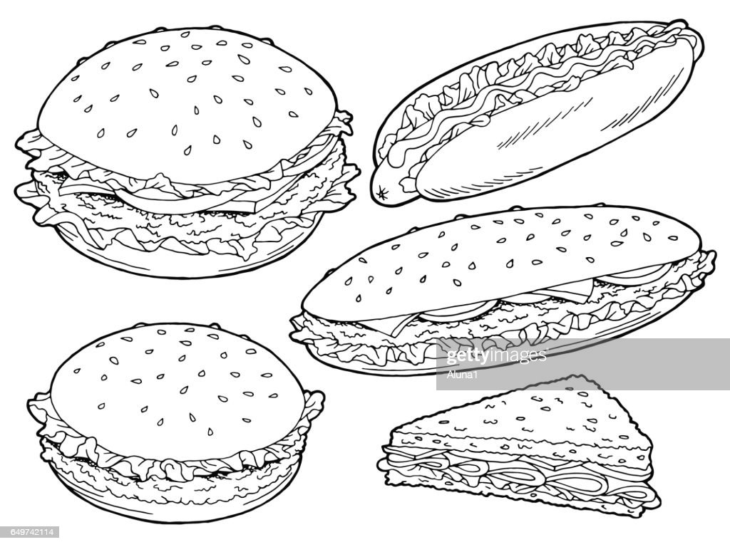 Hamburger graphic fast food black white sketch set isolated illustration vector