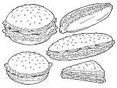 Hamburger graphic fast food black white sketch set isolated illustration vector