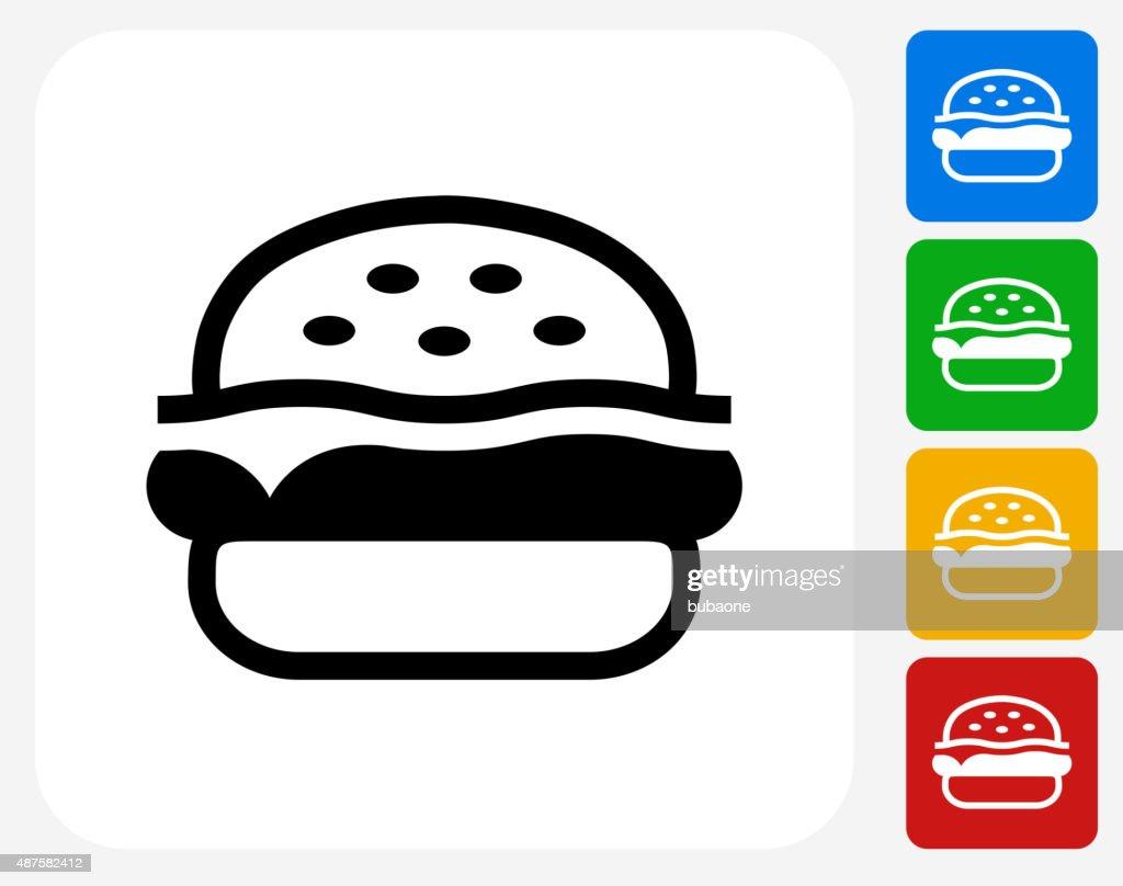 Hambúrguer plana ícone de Design gráfico : Ilustração