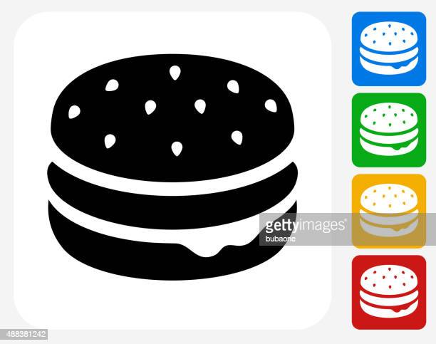 hamburger icon flat graphic design - sweet bun stock illustrations, clip art, cartoons, & icons