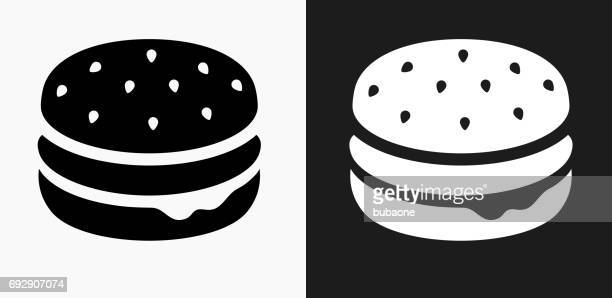 hamburger icon on black and white vector backgrounds - bun bread stock illustrations, clip art, cartoons, & icons
