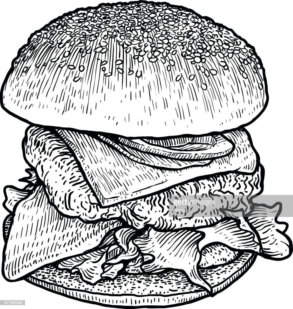 Hamburger illustration, drawing, engraving, ink, line art, vector