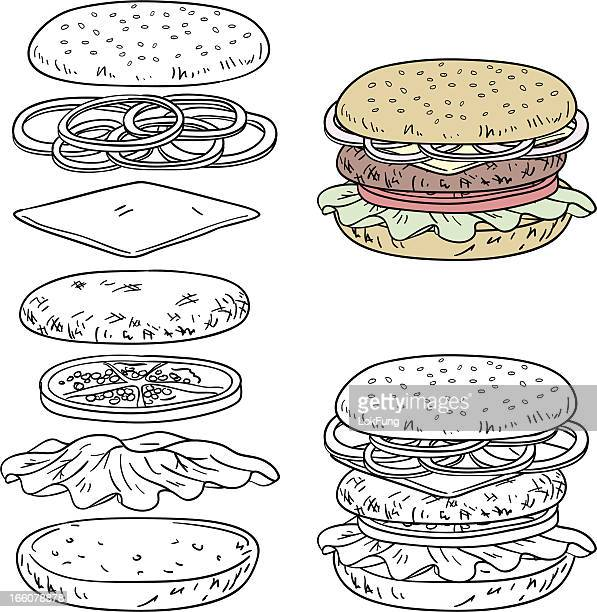 Hamburger ingredients in line art style