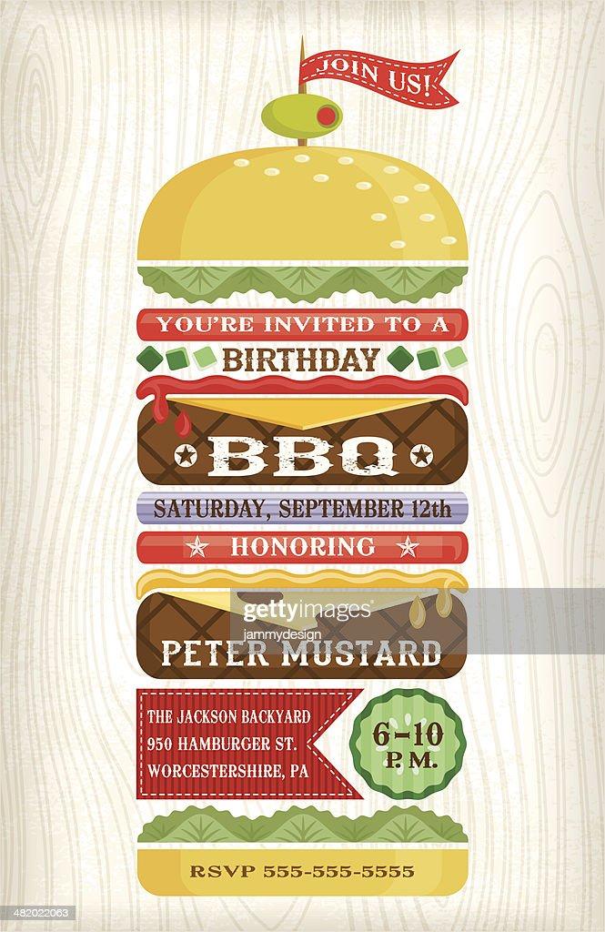 BBQ Hamburger Invitation : stock illustration