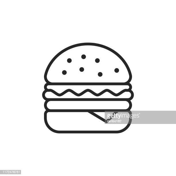 ilustrações, clipart, desenhos animados e ícones de ícone da linha do hamburger. traçado editável. pixel perfeito. para mobile e web. - hamburgo