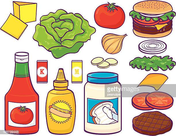 hamburger set with condiments and stuff - ketchup stock illustrations, clip art, cartoons, & icons