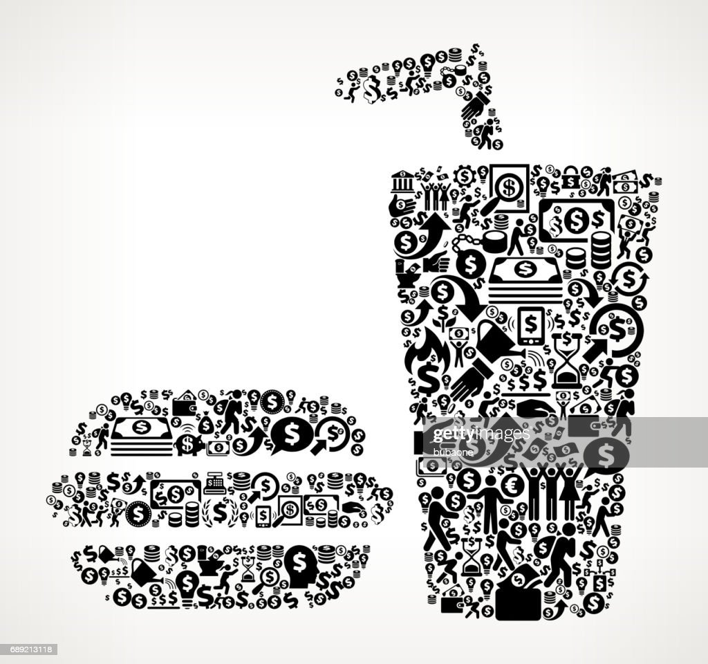 Hamburger & Soda Money and Finance Black and White Icon Background : Stock Illustration