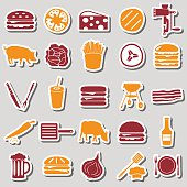 hamburger theme modern simple icons color stickers eps10