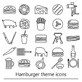 hamburger theme modern simple outline icons set eps10