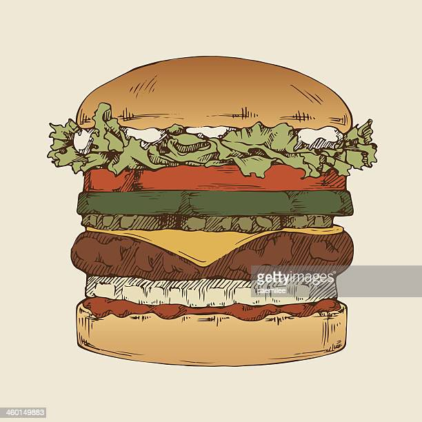 A hamburger with several other layers of ingredients
