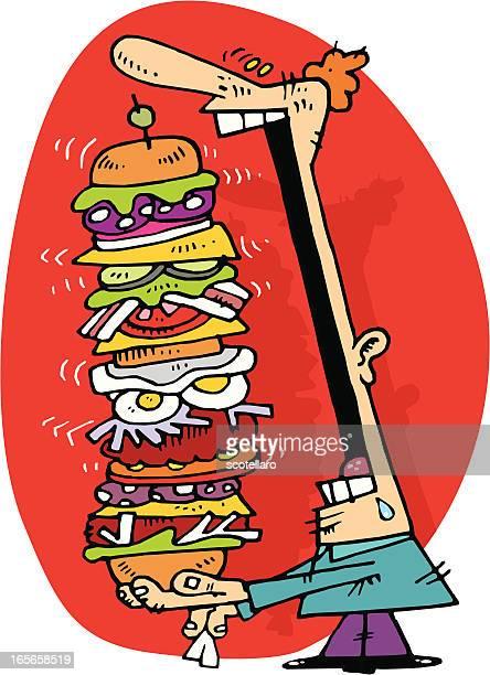 hamburguesa gigante!! - human mouth stock illustrations, clip art, cartoons, & icons
