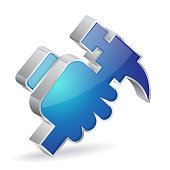 Hammer 3d Glossy Vector Icon Design