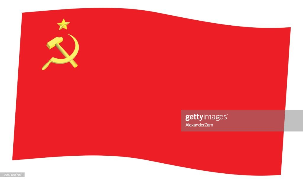 Hammer and sickle on red flag icon