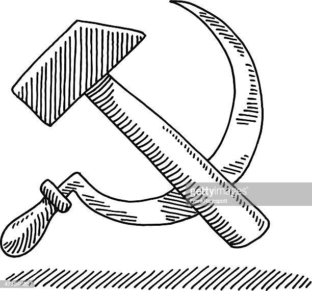 hammer and sickle symbol drawing - communism stock illustrations