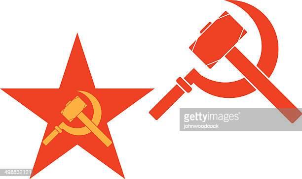 ilustraciones, imágenes clip art, dibujos animados e iconos de stock de martillo y falciformes - socialismo