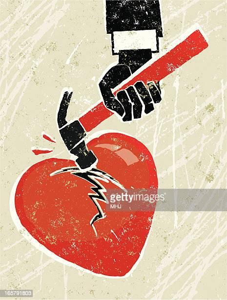 hammer breaking a heart - beating heart stock illustrations