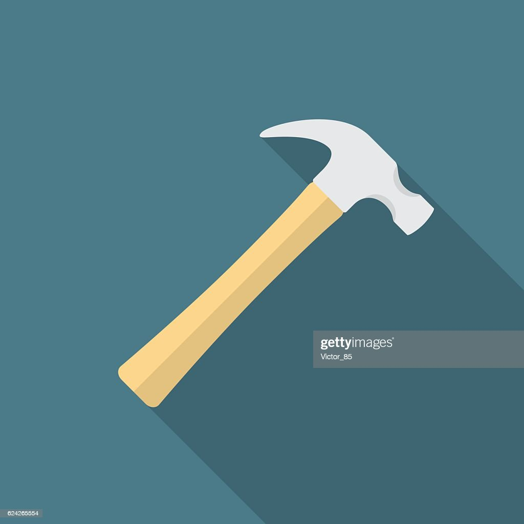 Hammer icon with long shadow.