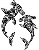 Hammer sharks tattoo in Maori tribal style