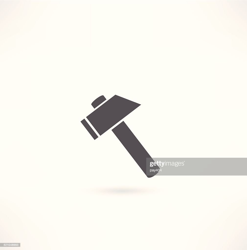 Hammer. Silhouette on a white background.