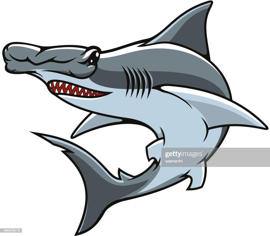 Hammerhead shark isolated vector mascot icon