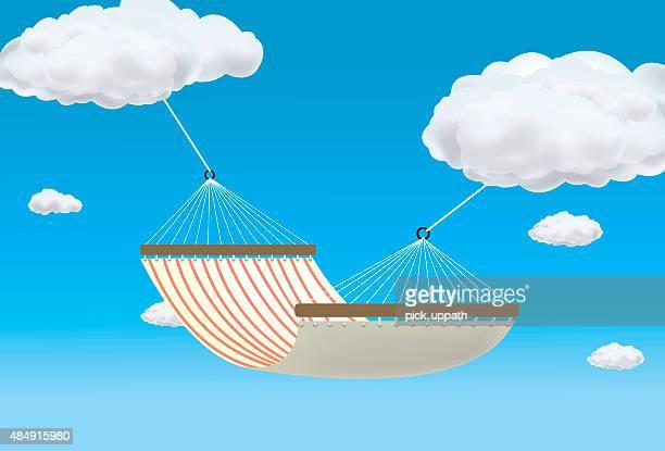 Hammock suspended between two clouds