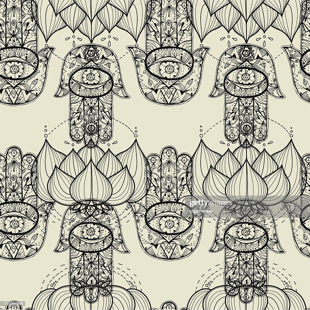 Hamsa hand and lotus flowers seamless pattern.