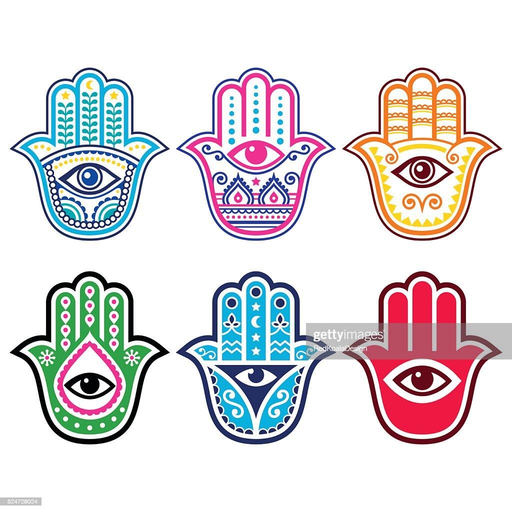 Hamsa Hand Hand Of Fatima Amulet Symbol Of Protection Vector Art