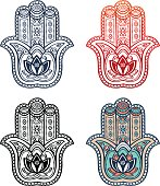 Hamsa hand with ethnic ornament and tribal style symbol with indian lotus