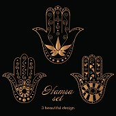 Hamsa set vector. Hand of Fatima oriental ornament.