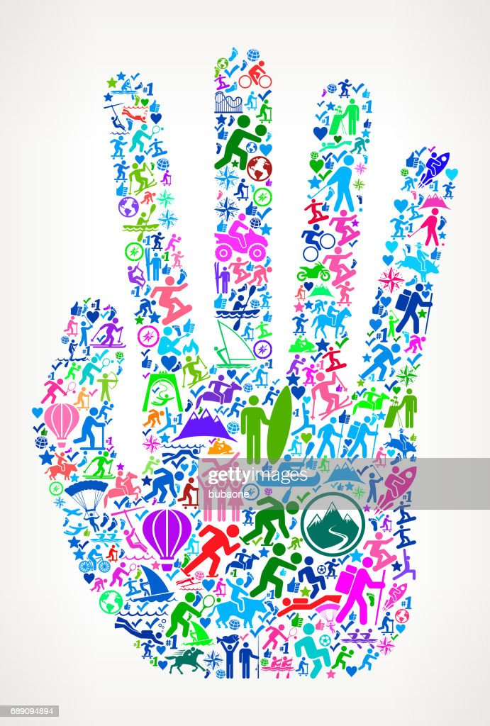 Hand Active Lifestyle Vector Icon Pattern : Stock Illustration