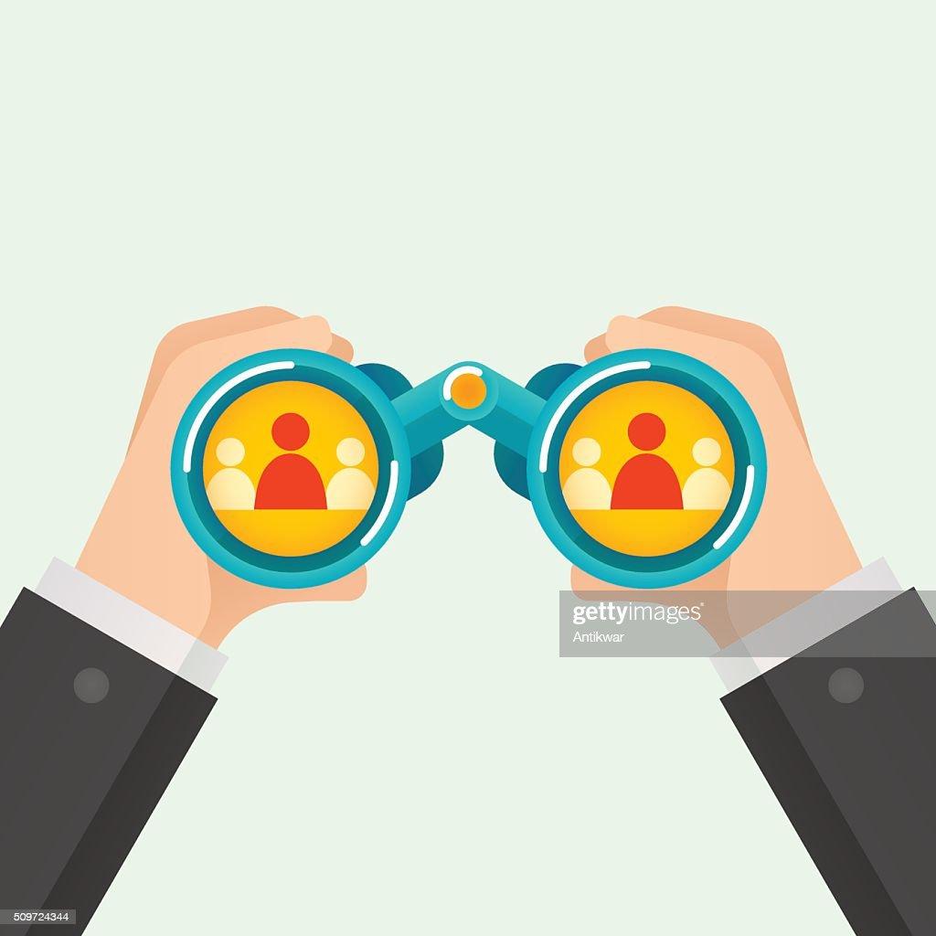 Hand and Binocular, Recruitment concept.