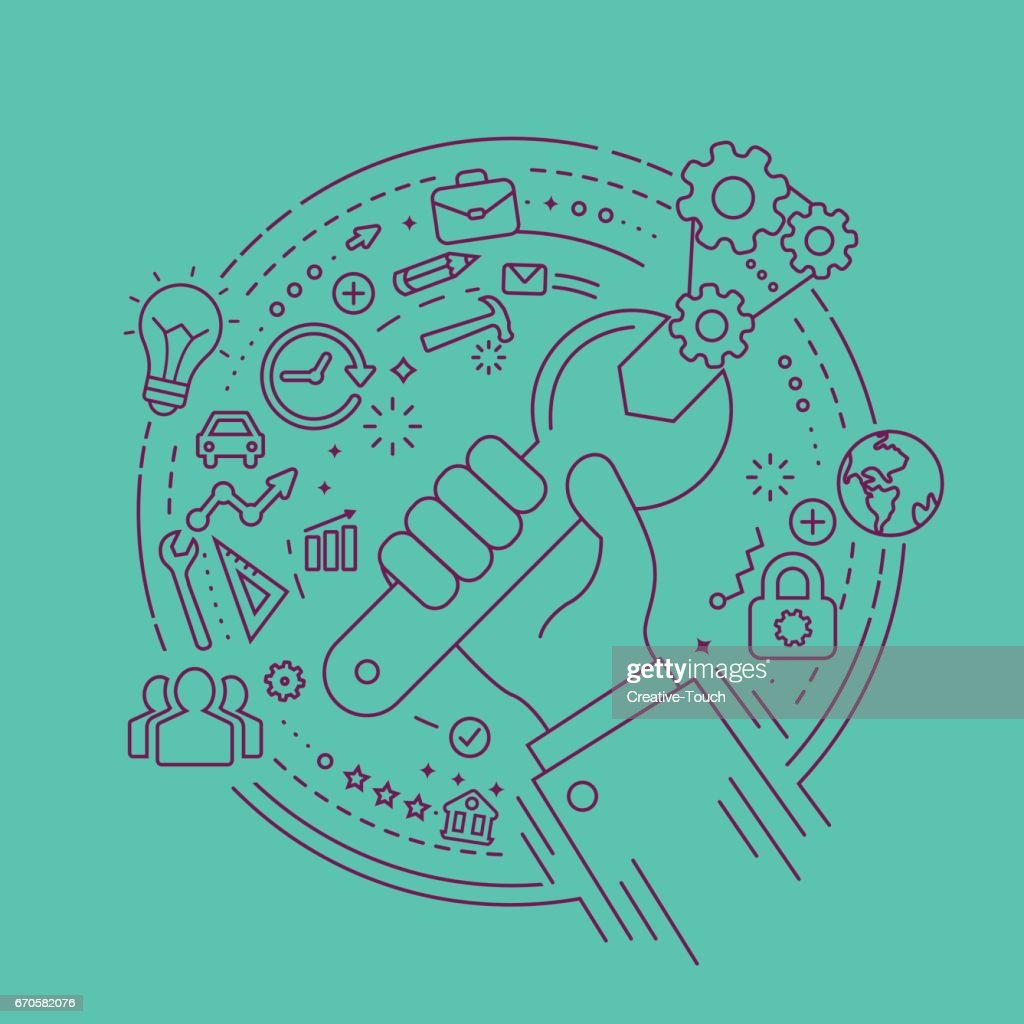Hand and Circle Concept : stock illustration