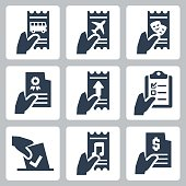 Hand and document vector icon set