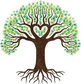 Hand and heart tree illustration
