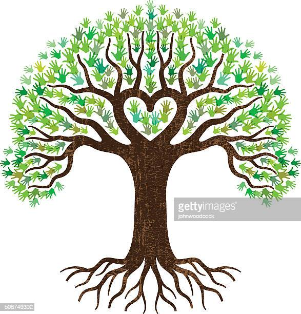 hand and heart tree illustration - root stock illustrations, clip art, cartoons, & icons