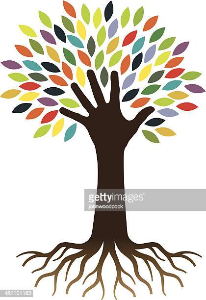 hand and tree - tree roots stock illustrations, clip art, cartoons, & icons