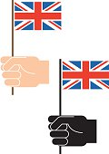 Hand and UK flag
