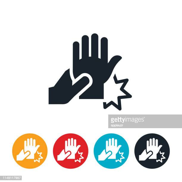 hand and wrist pain icon - wrist stock illustrations