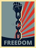 Hand breaking chains, freedom